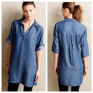Cloth & Stone Patterned Chambray Popover Dress S